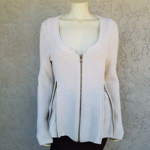 Charlie & Robin Cream Knit Full Zip Front Sweater